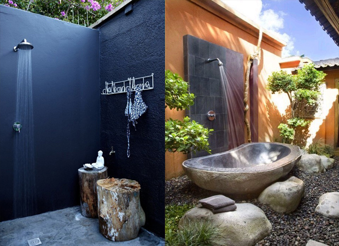 Delightful Modern Outdoor Shower Design With Wall Mount Showerhead A Bathtub Made From  Natural Stone White Wall