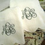Monogramed Bath Towels With White And Cool Design