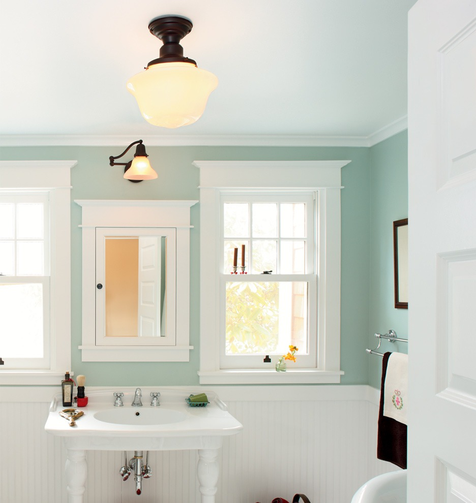 Mount Medicine Cabinet With White Wood Frame Above White Sink And Cool Lamps