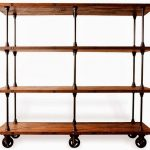 Movable wood and metal rack for book collections in semi rustic style