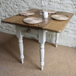 Narrow Drop Leaf Table In Classic Style With Double Narrow Leaves White Legs And A Drawer