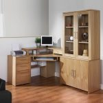 Natural Brown Cherry Wood Corner Desk With Shelves And Glass Door Cabinet