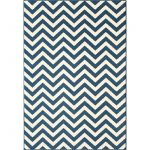 Navy Blue White Chevron Runner Rug