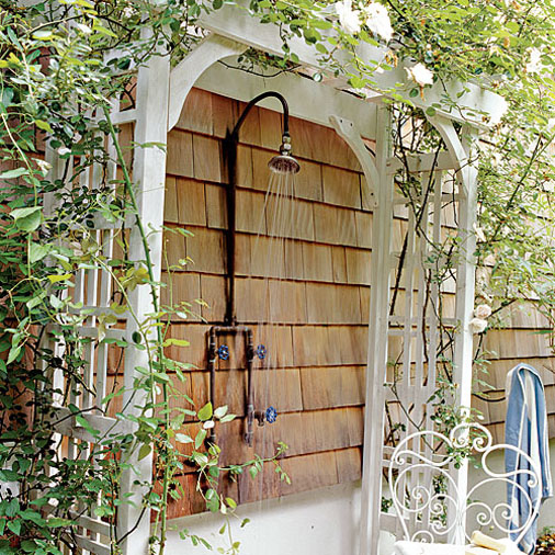 outdoor shower idea in tropical garden theme with wall mounted showerhead white painted wood gate with - How To Build An Outdoor Shower