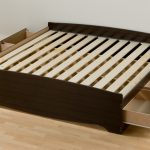 Platform Wooden Bed With Drawers Underneath As Storage Place