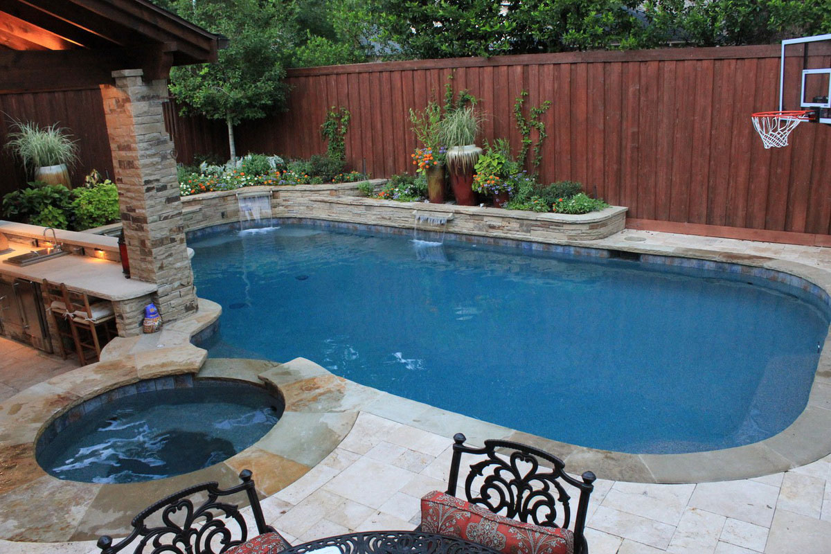 Swimming Pool Designs Small Yards pools for small yards with sunbed and umbrella and or not at all with panoramic views Pool Design For Small Yards With Stone Design And Furniture