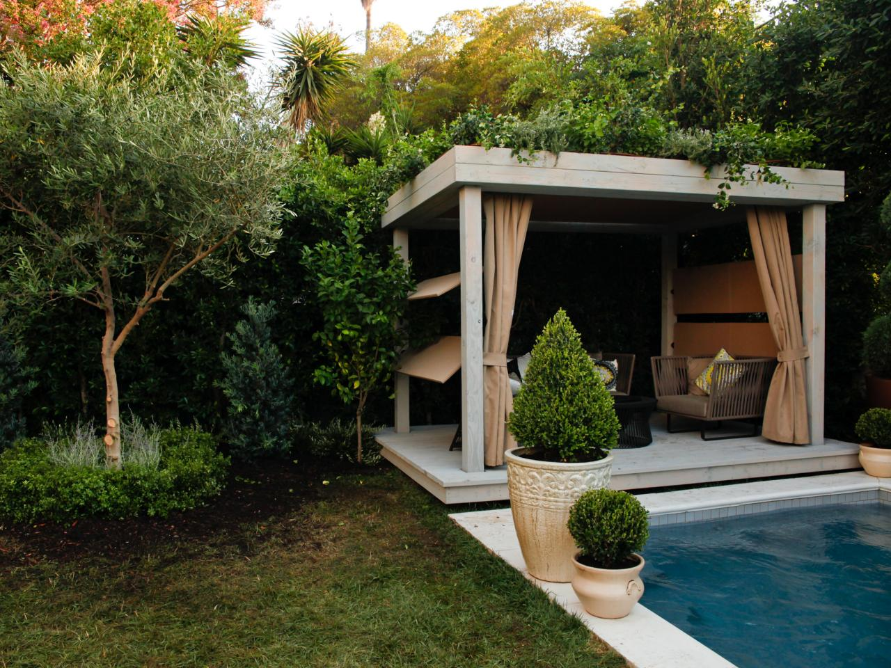 Outdoor curtains - Pool With Gazebo And Outdoor Curtain Panels