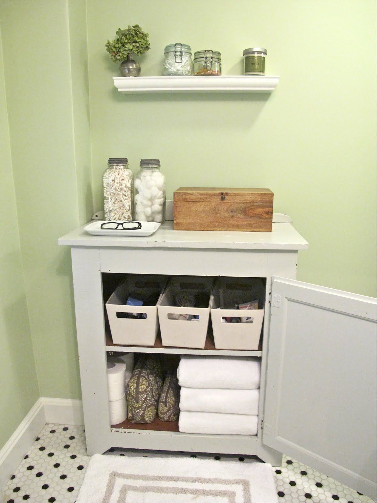 complete your bathroom with storage for towel - homesfeed