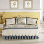 Pretty Day Bed Covers With Triple Pillows And Double Frames On White And Yellow Wall