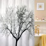 Pure white cloth curtain for bathtub with tree picture in black white tub with free standing water faucet in gold tone white floating shelf