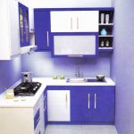 Purple Theme Color Of Apartment Kitchen Set