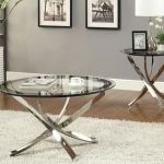 ROund Clear Glass Cocktail Tale Set With Metal Base And Fur White Rug