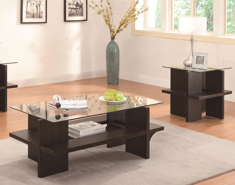 Cocktail table sets design homesfeed Glass top coffee table set