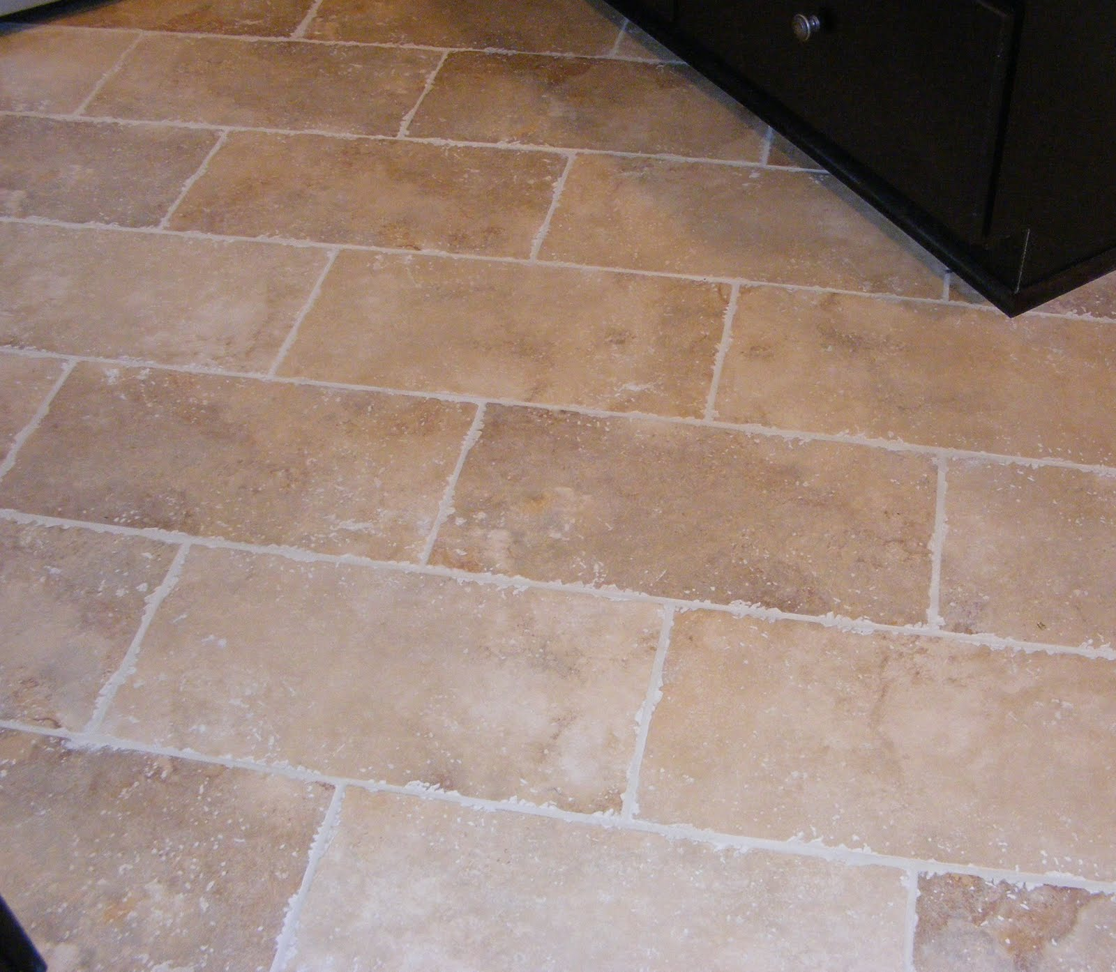 rectangular floor tile kitchen tiles floor Rectangular Cream Tile Kitchen Floor