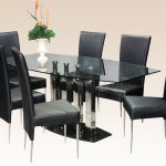 Rectangular Dining Table Design With Glass On Tops And Black Chairs