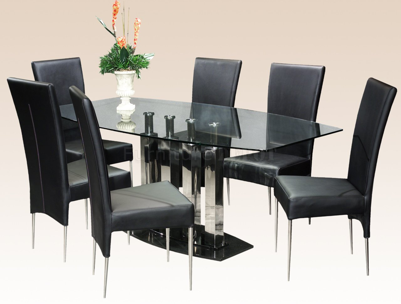 Dining table set glass - Rectangular Dining Table Design With Glass On Tops And Black Chairs