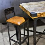 Rectangular Industrial Of Pub Table With Unique Wooden Design And Chair