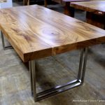 Rectangular Real Wood Dining Table With Steel Bases