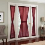 Red Curtains For Front Door And Sidelight Window