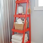 Red Stairs Shelves Bathroom Storage For Towel