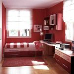 Red Theme With Complete Furniture Bedroom Ideas For Young Adults