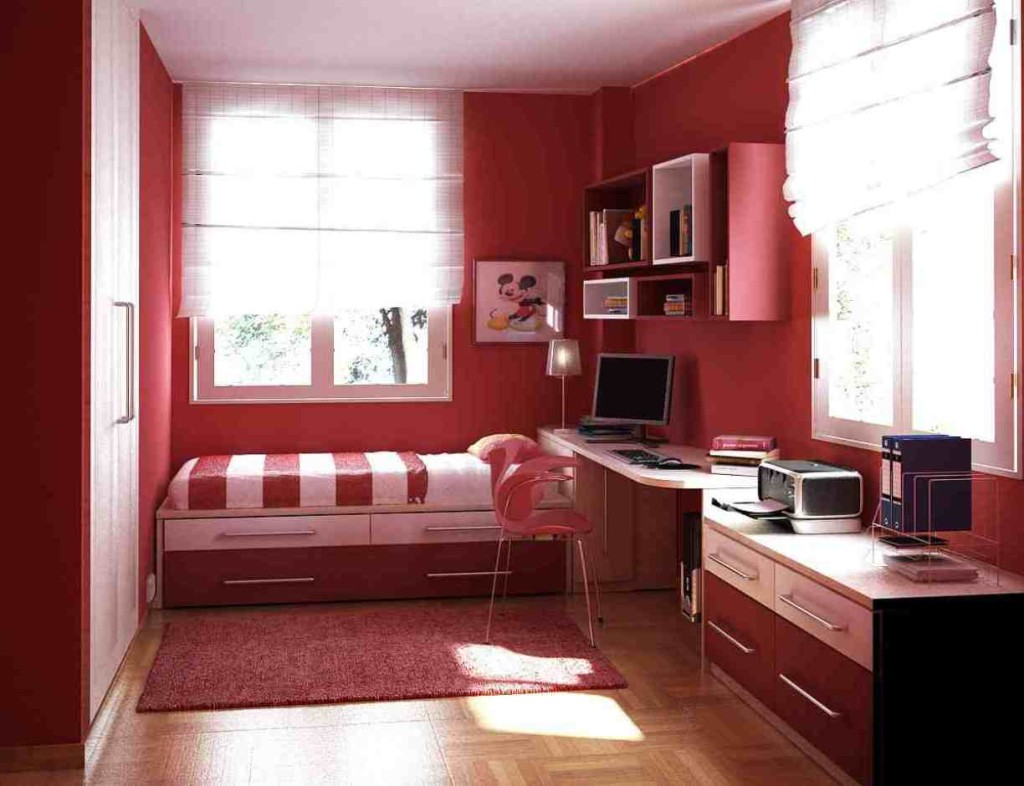 furniture for young adults. red theme with complete furniture bedroom ideas for young adults