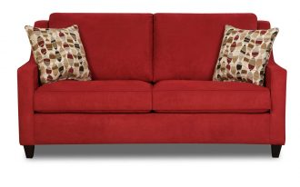 Red Twin Sleeper Sofa With Awesome Pillows Pattern