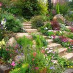 Rock Stairs With Flowers Of Backyard Garden Design Ideas