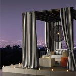 Romantic Long And Big Curtains With Outdoor Curtain Panels On Gazebo Near Pool