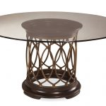 Round Dining Table With Glass On Tops And Decorative Leg