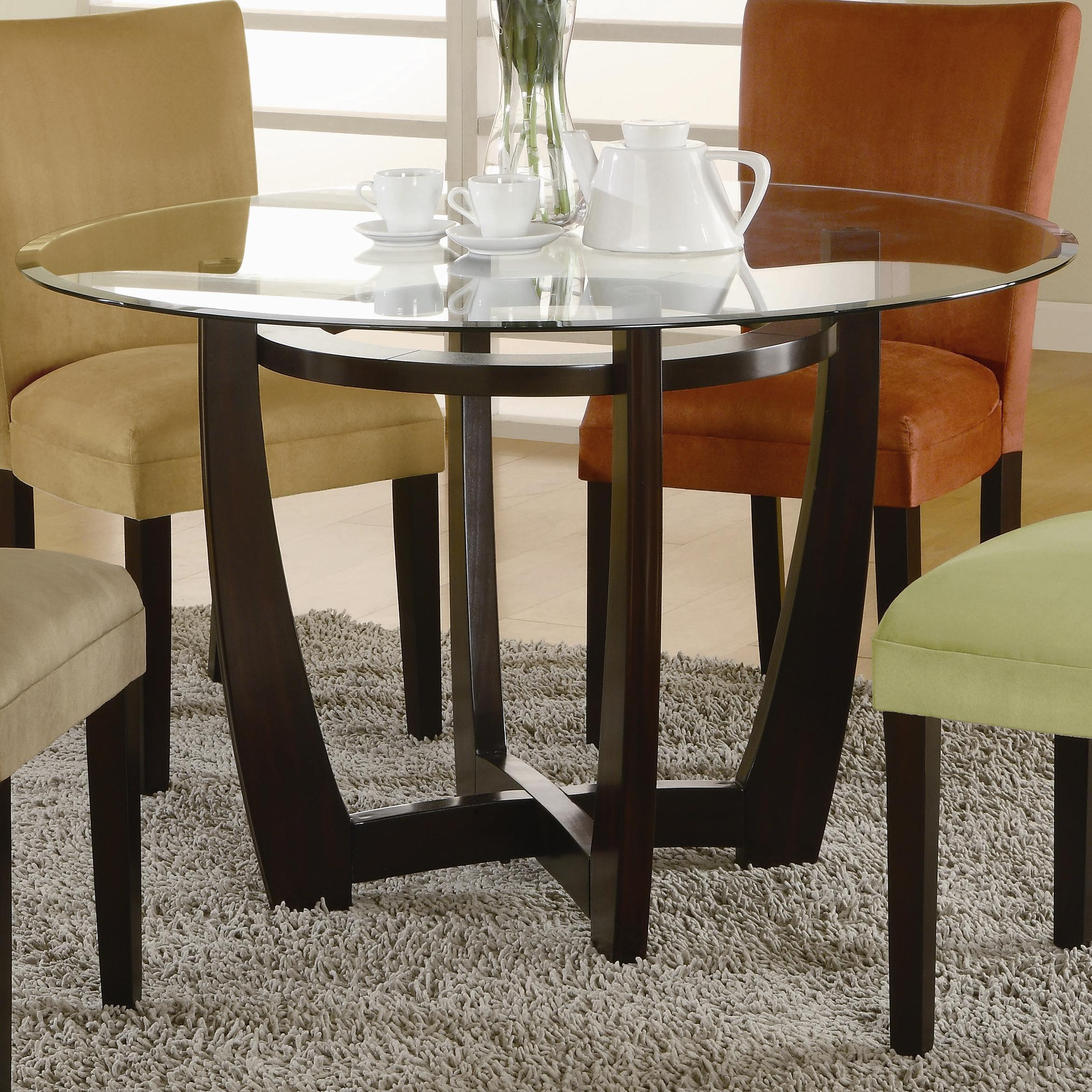 Dining room table bases for glass tops - Round Dining Table Wood Base And Glass On Top Surface With Colorful Chairs