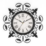 Round wall clock with classic crafted wrought iron