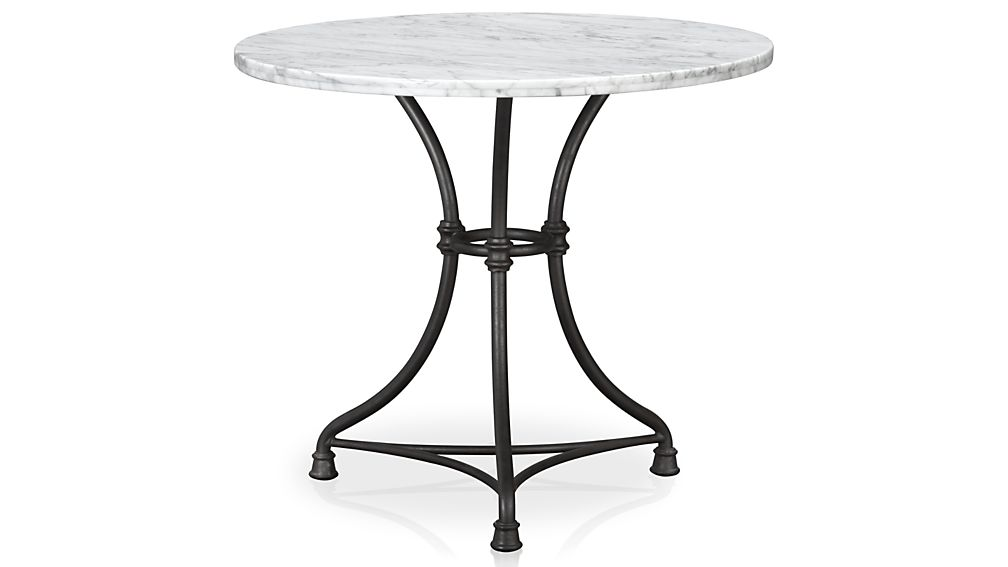 Great Round White Marble Bistro Table With Black Wrought Iron Base