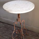 Round White Marble Top Bistro Table With Old Metal Base
