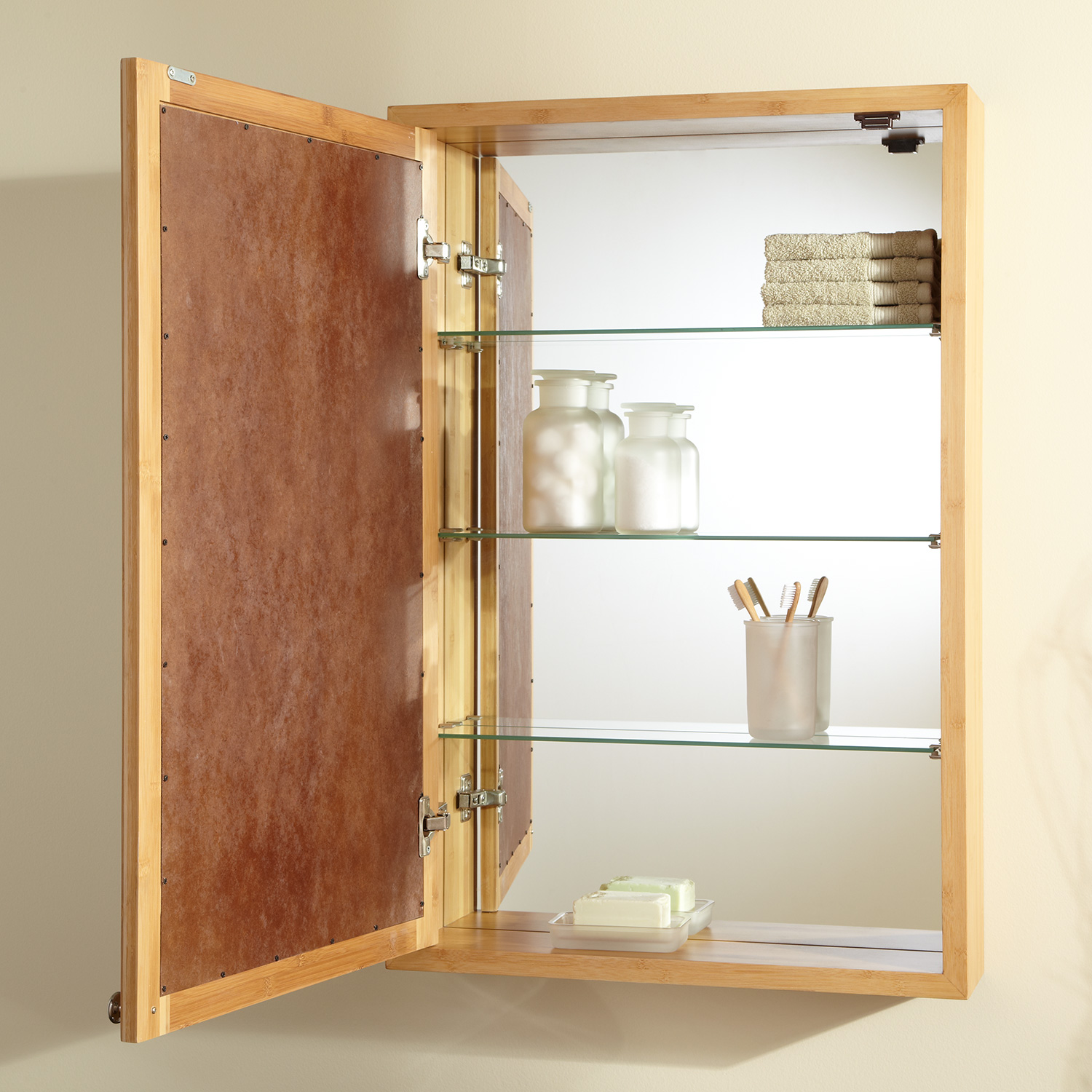 rustic wooden medicine cabinet mounted wall
