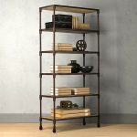Rustic look wood and metal book storage with wheels