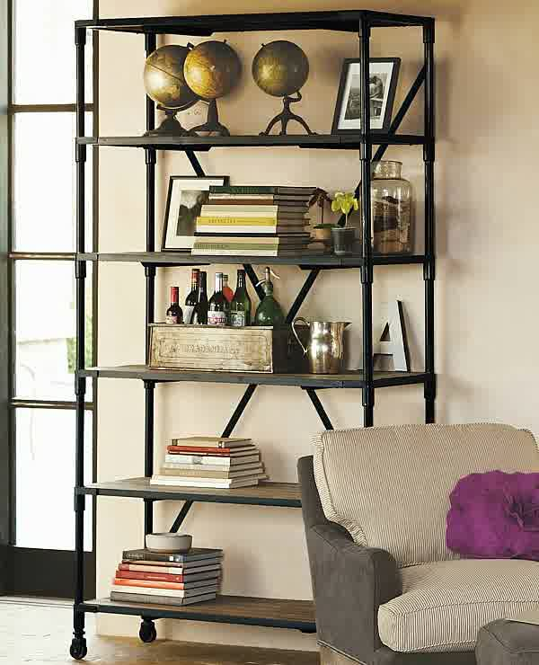 Metal And Wood Bookcase For Creating Warm-Modern Blend