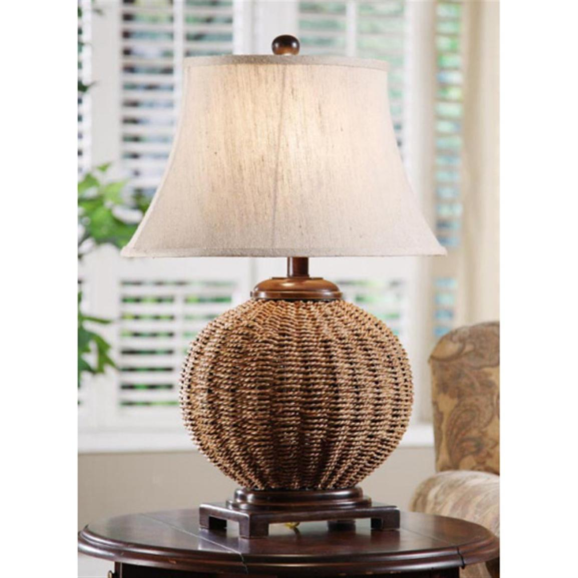 Great SImple Wicker Table Lamps On Small Round Table Side