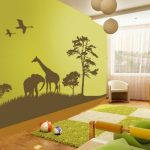 Safari decor idea for kids' bedroom in green theme  safari wallpaper idea white and green shag bedroom rug a computer desk with movable chair a corner white chair