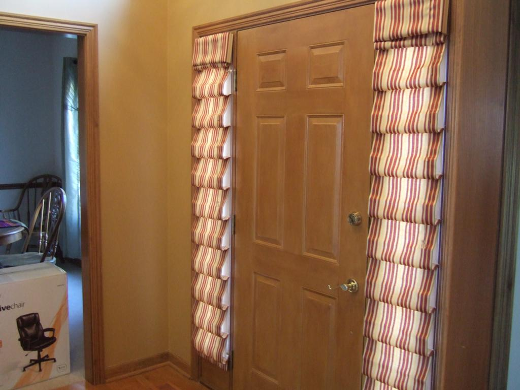 Glass front door window treatments - Sidelight Window Treatments Layered