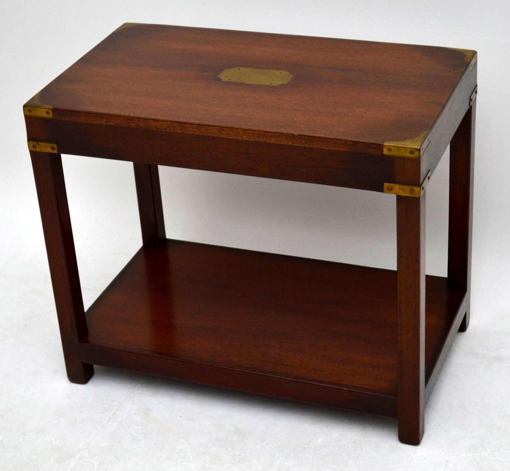 Simple Campaign Side Table With Rack On Legs
