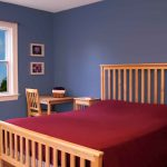 Simple Design Of Bedroom With Blue Best Color Wall Paint And Red Matress