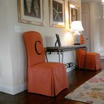 Simple One Orange Color Of Parson Chair Slipcovers With C Letter Near Side Table