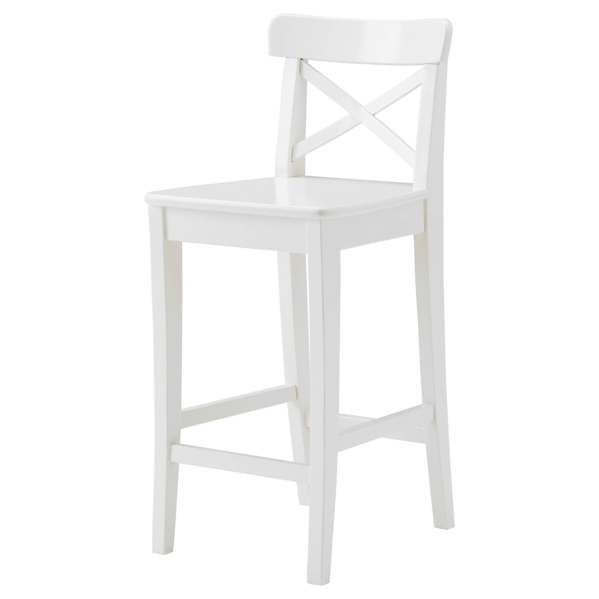 Simple White Wood Bar Stools With Back