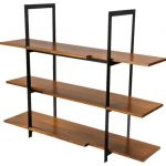 Simple and minimalist wood metal shelves for book collections