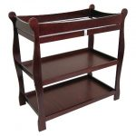 Sleigh-Baby-Changing-Table-with-Cherry-Finish-looks-nice-with-classical-sleigh-style-features-top-safety-rails-and-safety-belt-and-2-shelves-with-non-toxic-finish