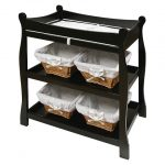 Sleigh-Style-Changing-Table-in-black-color-features-2-open-shelves-and-made-from-wood-with-non-toxic-finish-and-safety-belt-also-top-safety-rails