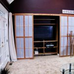Sliding shoji screen door for media cabinet