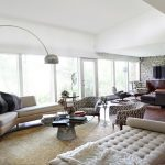Small And Large Surface Of Platner Side Table In Living Room With Sectional Sofa Standing Lamp And Awesome Rug