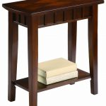 Small Dark Wooden Tall Console Table With Shelf For Books